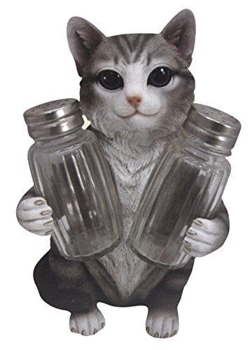 - Adorable Gray Tabby Cat Kitten Figurine Salt and Pepper Shaker Holder