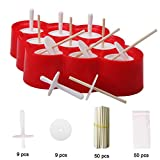 Wellood Mini Pop Molds, 9 Miniature Popsicle Molds With Sticks and Drip-guards, Easy-release BPA-free Silicone(with 50 Popsicle Sticks 9 Stick Holders and 50 Popsicle Bags)