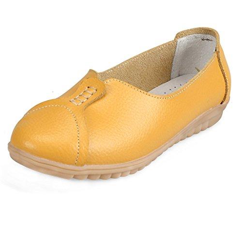 Eagsouni�?Damen Mokassins Leder Slipper Slip Ons Freizeit Flache Loafers Schuhe Gelb