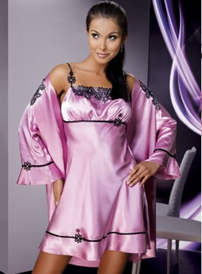 Irall Mirabelle II Dusty Rose Satin Dressing Gown