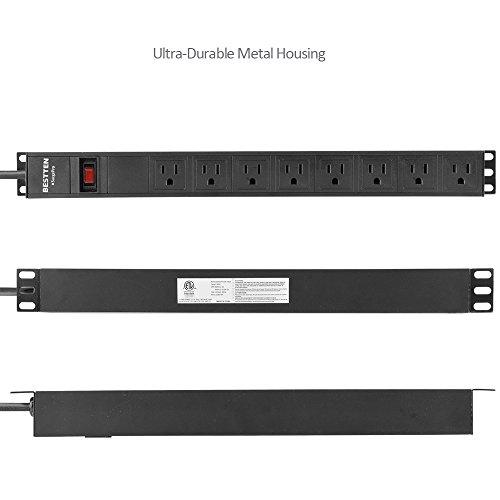 Bestten 8 Outlet Rack-Mount PDU, 1U/ 15A/125V, Aluminum Alloy 900J Surge Protector Power Strip, 9 Feet Cord, ETL Certified, Black by BESTTEN (Image #4)