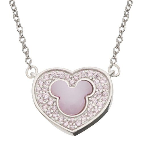 Disney Women and Girls Jewelry Mickey Mouse Sterling Silver Pink Cubic Zirconia and MOP Mickey Head on Heart Pendant Necklace, 18
