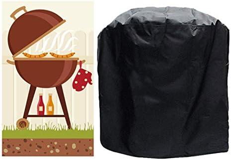 QUAN Storage Bag ストレージボックス収納袋屋外アンチUV防水防塵210Dオックスフォード布BBQサークル保護袋木炭バーベキューグリルカバー、サイズ:58x77cm(ブラック) (色 : Black)
