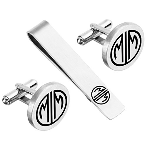 ZUNON Initial Cufflinks Engraved 2 Monogram Letter Wedding Groom Groomsman Best Man Tie Clip Tacks Bar (2 Initial Great Gatsby) ()