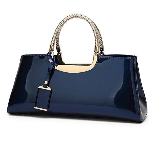 YYY WLQ handbag - patent leather handbag - Atmospheric wild shoulder bag personality fashion wedding bridal bag - diagonal bag female Navy blue