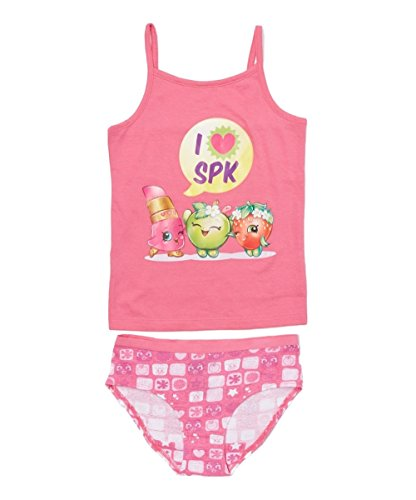 Shopkins Girls' Little Heart Spk Camisole and Underwear Set, Pink, 6 -