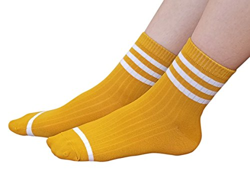 AM Landen Women's Mustard Yellow Ankle Striped Athletic Short Cotton Socks