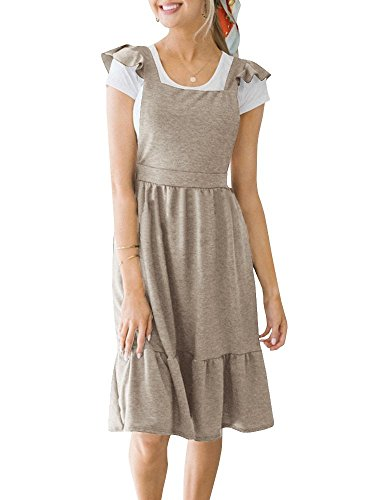 (Welkomdream Womens Overall Midi Dresses Cute Sleeveless Pinafore Dress with Pockets)