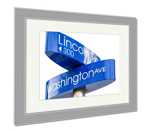 Ashley Framed Prints Street Sign Marking Directions To Lincoln Road Miami, Wall Art Home Decoration, Color, 30x35 (frame size), Silver Frame, - Lincoln Miami Beach Road Shopping