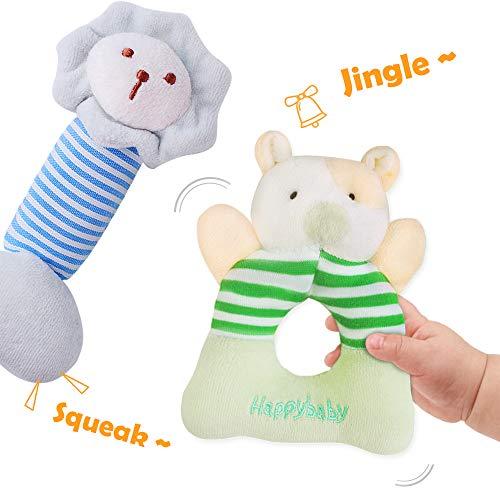 iPlay, iLearn 4 Plush Baby Soft Rattle Set, Hand Grab Sensory Toys, Organic Teether and Shaker, Farm Stuffed Animals…