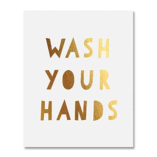 Foil Print Poster Kids Bathroom Wall Art Gold Home Decor 8 inches x 10 inches E29 ()
