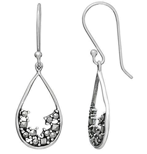 Sterling Silver Genuine Marcasite Teardrop Dangle - Marcasite Earrings Teardrop