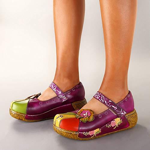 Zapatos Tinto Vendimia La Para Plataforma Sandalias Mujer Danza Cuero Ballet on Mujer Socofy Flores Slip De Sandal Casuales Vino Cuña Oxford Coloridas Merceditas Mocasines C7tgxwqP