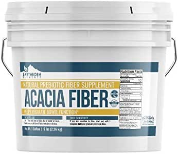 Acacia Fiber (1 Gallon, 5 lb) by Earthborn Elements, 100% All-Natural Prebiotic Dietary Supplement, Tasteless Powder, Suppresses Hunger, Supports a Healthy Digestive System, Resealable Plastic Bucket