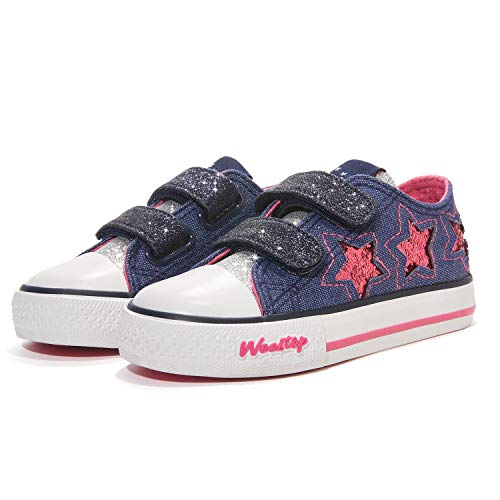 Weestep Toddler Girls Sneakers School Shoes for Kids Glitter & Hook and Loops Design - 25 Styles