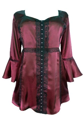 Dare To Wear Victorian Gothic Women's Plus Size Enchanted Top in Ruby L
