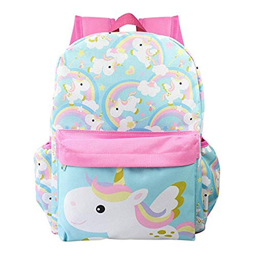 Licensed Unicorn Allover Print 16 inch Girls Large Backpack - Pink
