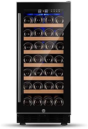 YFGQBCP 6 capas de madera sólida del refrigerador de vino Frigorífico - 33 Botella incorporado o autoportante libre de heladas compresor refrigerador de vino con la memoria digital de control de tempe
