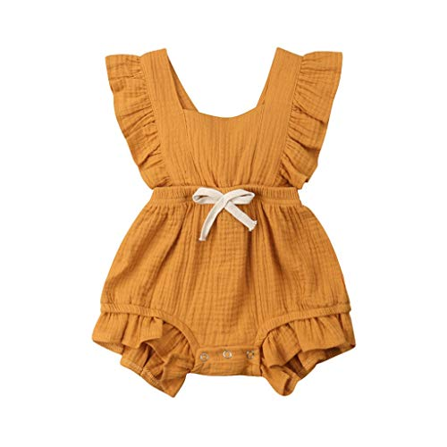 MOGOV Baby Girls Multi-Color Solid Ruffles Sleeve Strapless Shoulder Backcross Romper Bodysuit Outfits Yellow
