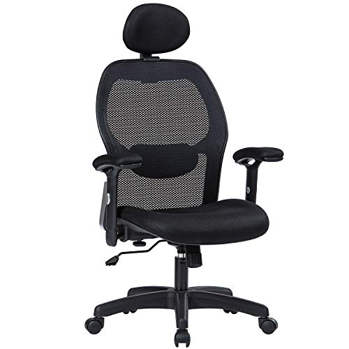 MBOO Ergonomic Office Chair, High Back Executive Swivel Computer Desk Chair with Adjustable Armrests and Headrest, Back Lumbar Support, Black -