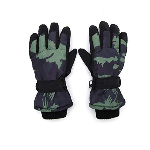 (FH Children's Gloves Boys Autumn Winter Thick Warm Velvet Fashion Camouflage)