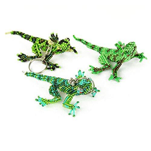 (Key Ring Keychain Fancy Glass Beaded Lizard 6 Pack Wholesale Lot Guatemala)