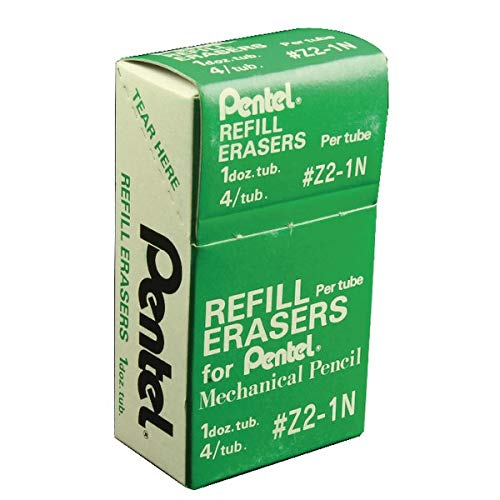 Pentel Mechanical Pencil Eraser Refills, Z2-1N, Box of 12 Tubes of 3 Erasers (Total 36 -