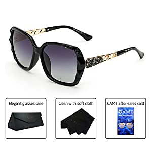 GAMT Crystal Polarized Sunglasses for Women Oversized Square Sparkling Brand Designer