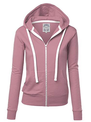 Made By Johnny MBJ WSK954 Womens Active Fleece Zip Up Hoodie Sweater Jacket XXL DUST_Pink