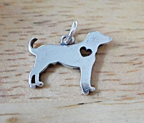 (Fine Charms Sterling Silver 16x12mm Love Lab Labrador Retriever Dog with Cut Out Heart)