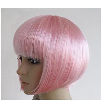 Mujeres mujeres cortas recta bob peluca Disfraces Cosplay pelucas pop traje de fiesta luz rosa