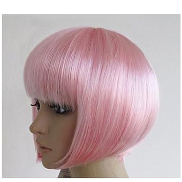 Mujeres mujeres cortas recta bob peluca Disfraces Cosplay pelucas pop traje de fiesta luz rosa: Amazon.es: Deportes y aire libre