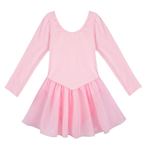 Leotard Set (YiZYiF Girls' Kids Team Classics Long Sleeve Leotard Child Dancewear Dress Pink 2-3)