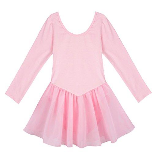 YiZYiF Girls' Kids Team Classics Long Sleeve Leotard Child Dancewear Dress Pink 5-6