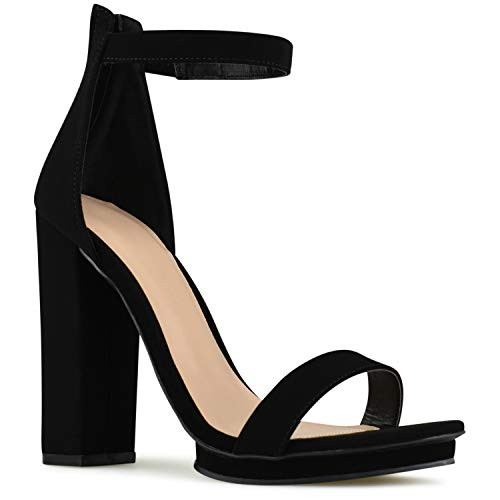 Inch Heel Five - Premier Standard - Women's Strappy Chunky Block High Heel - Formal, Wedding, Party Simple Classic Platform Pump, TPS2019100069 Black NB Size 7