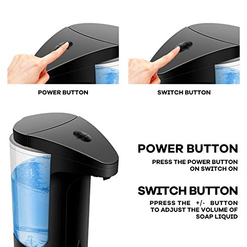 Puyong Automatic Soap Dispenser Touchless Battery Operated Electric Soap Dispenser with Adjustable Switches Smart Infrared Sensor for Bathroom Kitchen School Office Hotel 12.5OZ/370ML