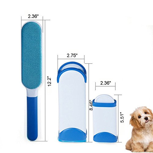 VJ Pet Hair Remover Brush,Clean Dog &Cats Fur Remover,Plastic Double-sided Clean Lint Brush for Pets/Family/Sofa/Clothes,Furniture Travel Hair Brush by VJ (Image #1)