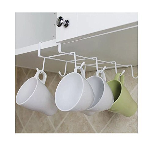 Sweet House for Love Stainless Steel 8 Hook Under Shelf Mugs
