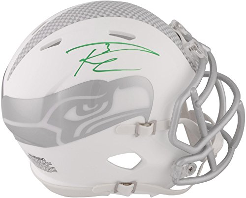 Hawk Signed Green (Russell Wilson Seattle Seahawks Autographed Riddell Speed ICE Mini Helmet - Signed in Green Ink - Fanatics Authentic Certified)
