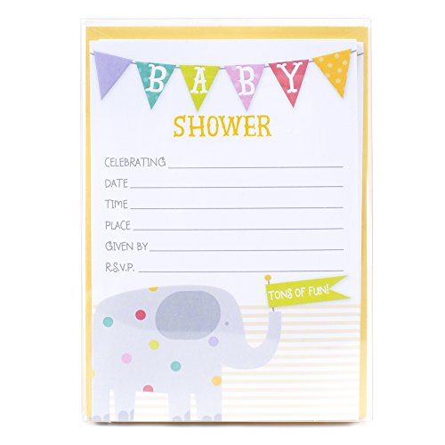 Hallmark Baby Shower Invitations (Elephant Tons of Fun, Pack of ()
