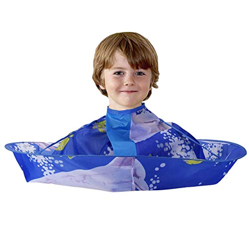 CCbeauty Children Barber Cape for kid Haircut Umbrella Hair Catcher kids Hair Styling Cutting Cape Apron (Dolphin) ()