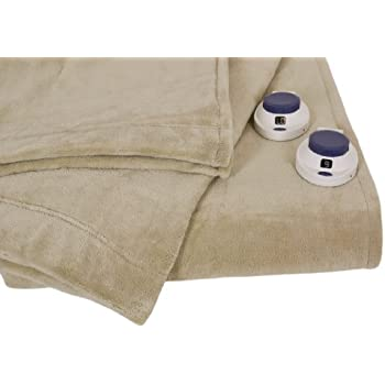 Serta Luxe Plush Low-Voltage Electric Heated Micro-Fleece Blanket, King, Pearl