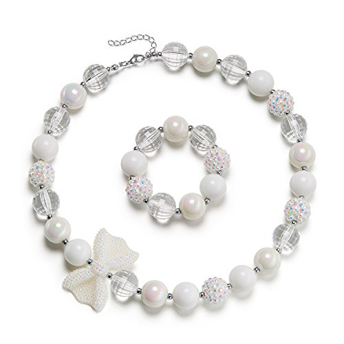 vcmart Beautiful White Chunky Bubblegum Bead Necklace Girls with GFT Box