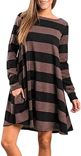 05473579c6 Faddare Women's Casual Loose Long Sleeve Striped/Plaid Tunic Dress with  Pockets
