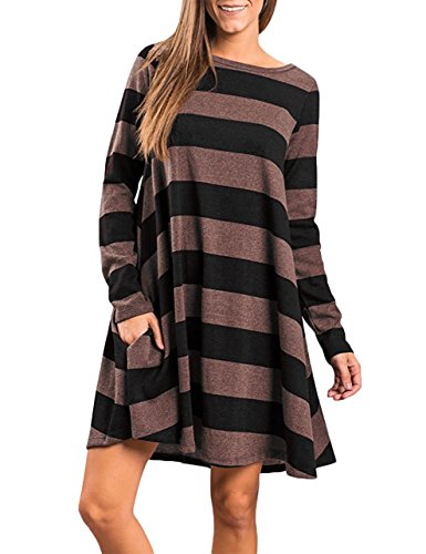 (Faddare Shift Dress for Women with Sleeves, Tunics,Stripes Brown)