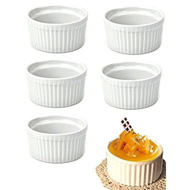 DOYOLLA Set of 8pcs Round Porcelain Oven Safe Ramekin Dessert Souffle Baking Dish (white)
