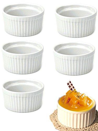 DOYOLLA Set of 8 Round Porcelain Oven Safe Ramekin Dessert Souffle Baking Dish (white) DP051JC8