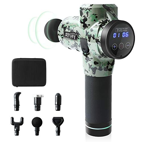 Afruey Massage Gun 30 Speed Level Cordless Deep Tissue Percussion Portable Handheld Electric Body Massager Sports Drill with 6 Heads for Relieving Muscle Pain, Soreness, and Stiffness