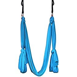 Yoga Hammock Aerial Kit Extra Long Studio Quality Flying Silk Premium Safe Set Includes Hardware, Daisy Chains and Guide by Kurma (Ocean Blue)