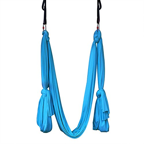 yoga hammock aerial kit extra long studio quality flying silk premium safe set includes hardware daisy chains and guide by kurma  ocean blue  aerial hammock  amazon    rh   amazon